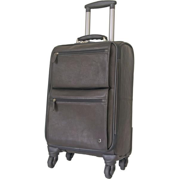 Gino De Vinci Columbia 4 Wheel On Board Leather Laptop Trolley Brown