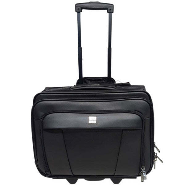 Busby Leather Office Bag on Wheels Black