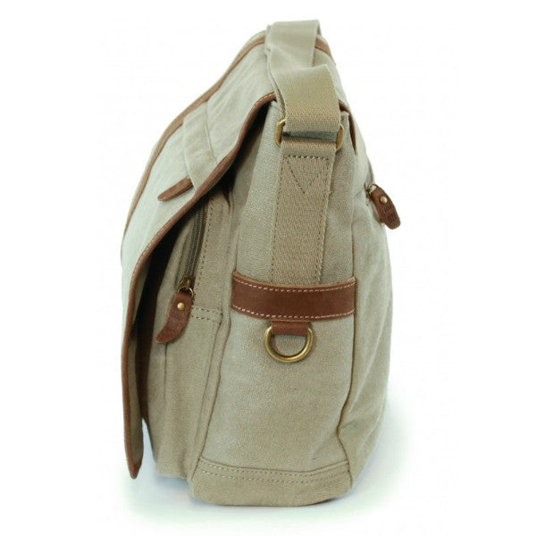 Troop London Classic Canvas Laptop Messenger Bag Khaki