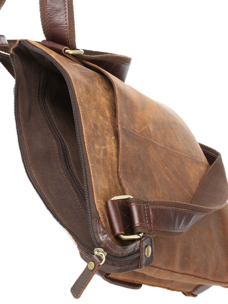Polo Raw Oil Skin Sling With Front Pocket