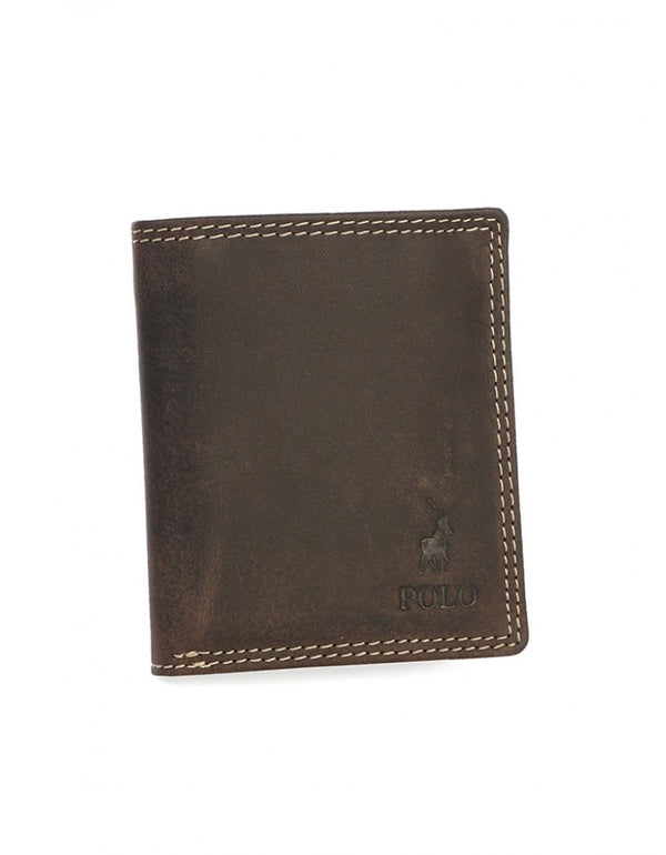 Polo Washed Leather Billfold With Extra Card Flap