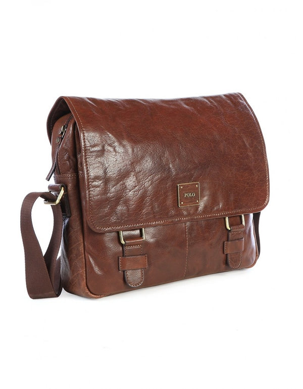 Polo Coyote Leather Messenger Bag