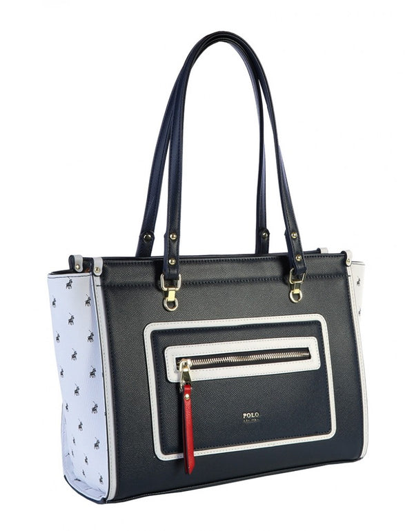 Polo Monticello Tote Handbag Navy/White