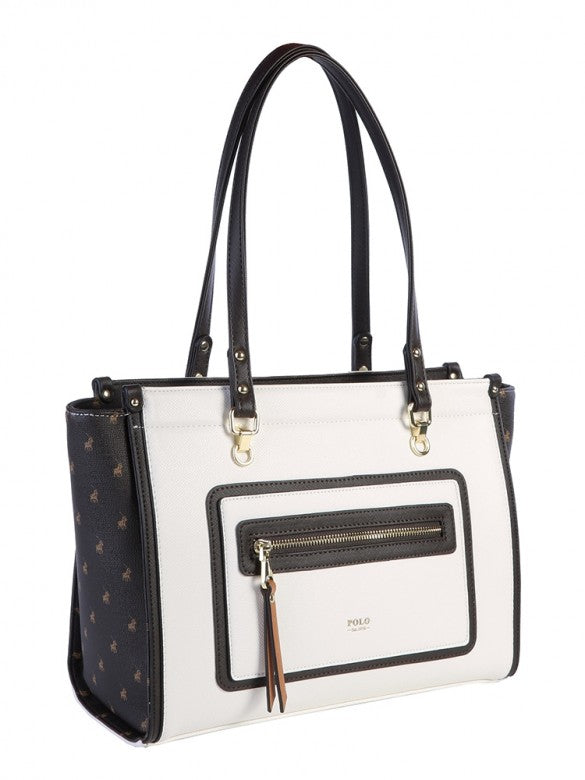 Polo Monticello Tote Handbag Brown/White