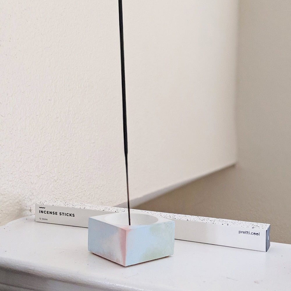 Square Marbled Concrete Incense Holder - Jawbreaker