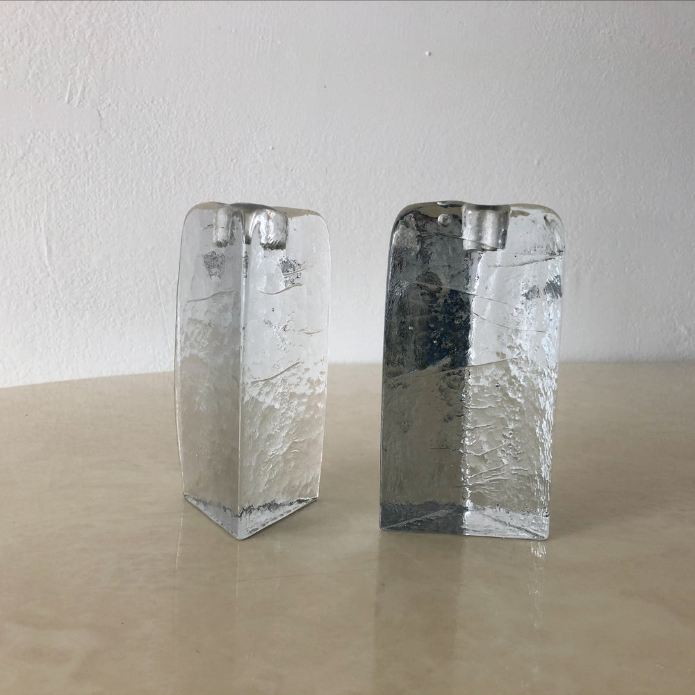 Blenko Glass Triangle Candle Holders (Set of 2)