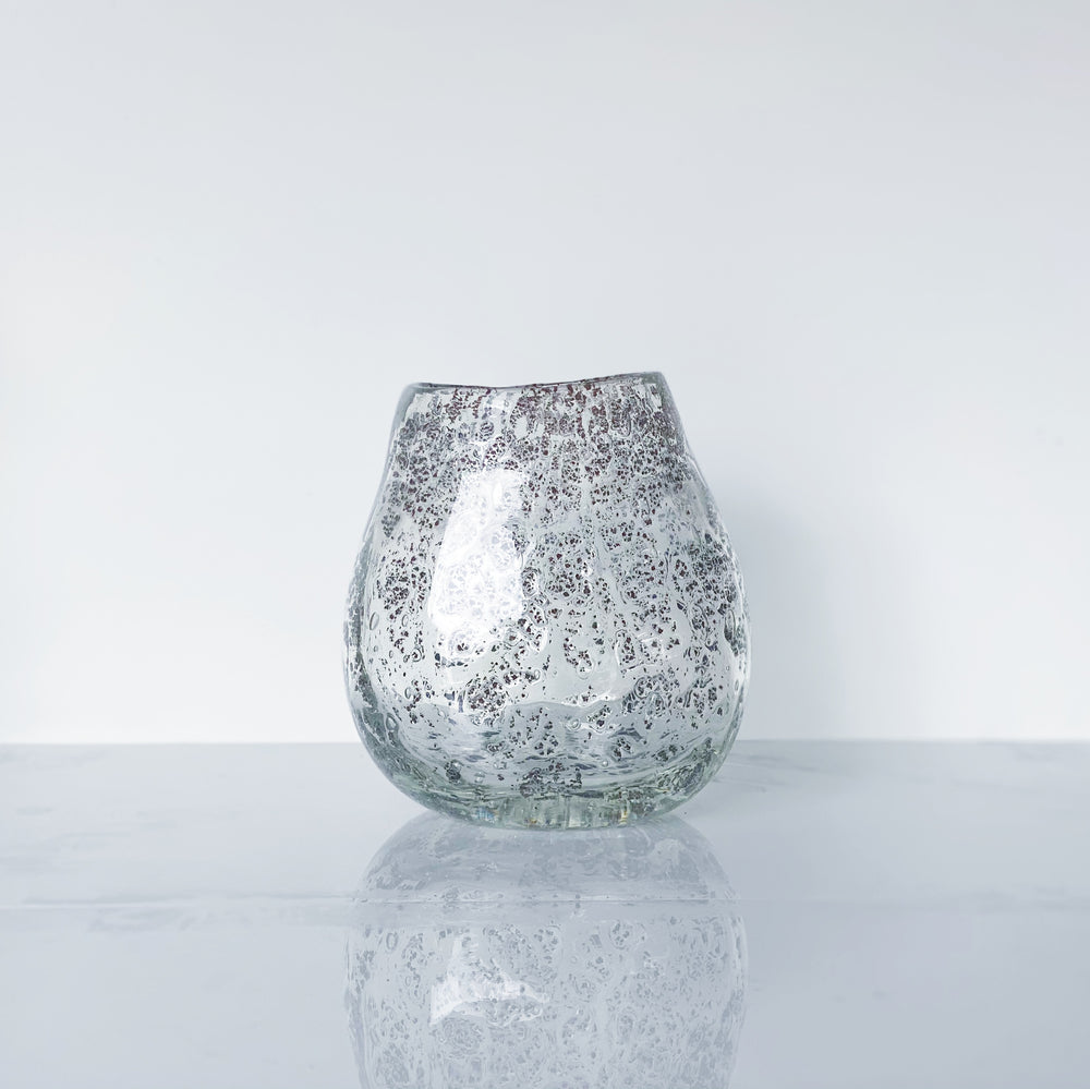 Hand-Blown Glass Vase with Bronze-Colored Flecks