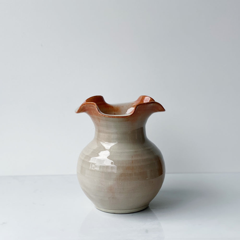 Gray Vase with Wavy Top + Burnt Orange Accent