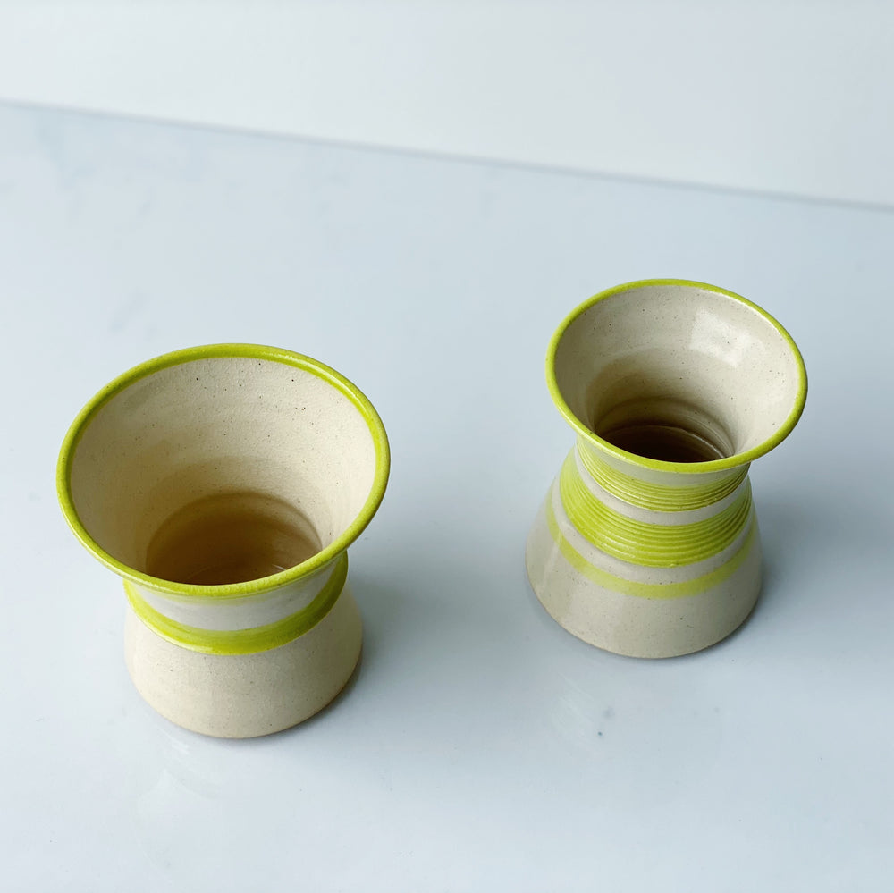 Petite Cream + Lime Green Ceramic Vessel