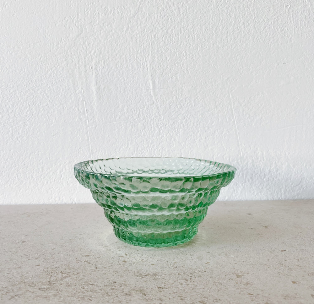 Dimpled Glass Stairstep Bowl