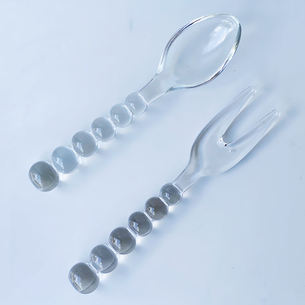 "9"" Glass Serving Fork + Spoon"