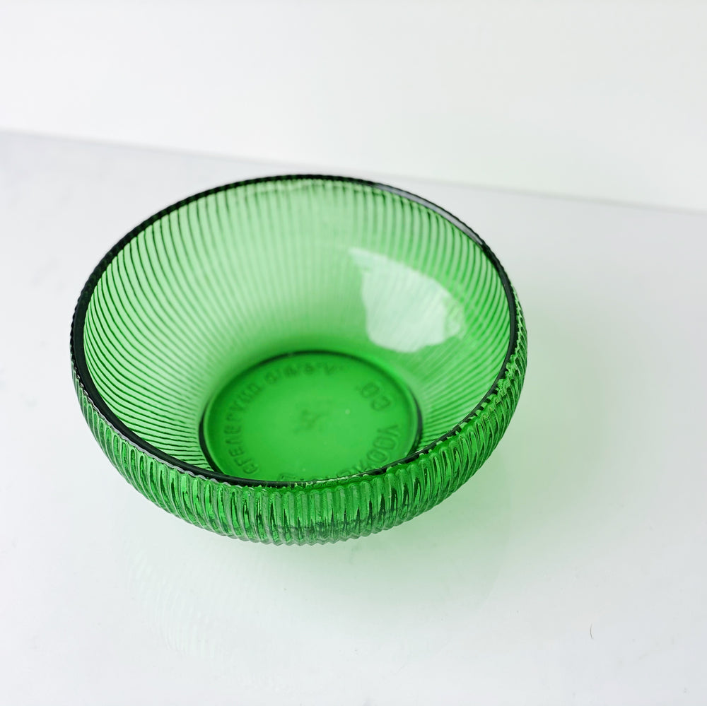Emerald Green Ribbed Glass Bowl