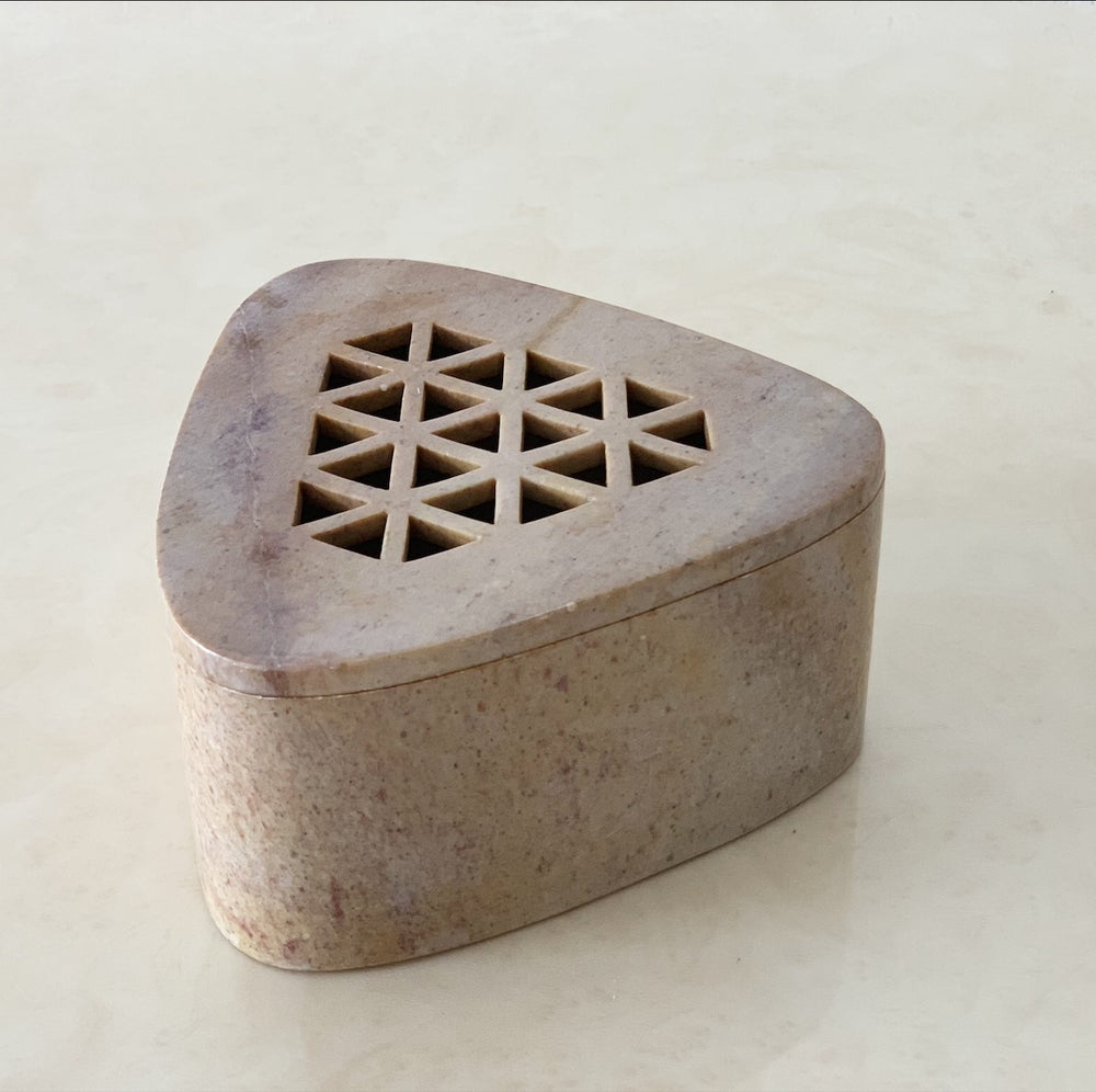 Stone Triangular Box with Cutouts