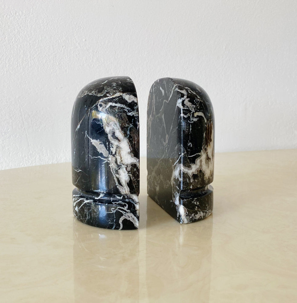 Black Marble Rounded Bookends (Set of 2)