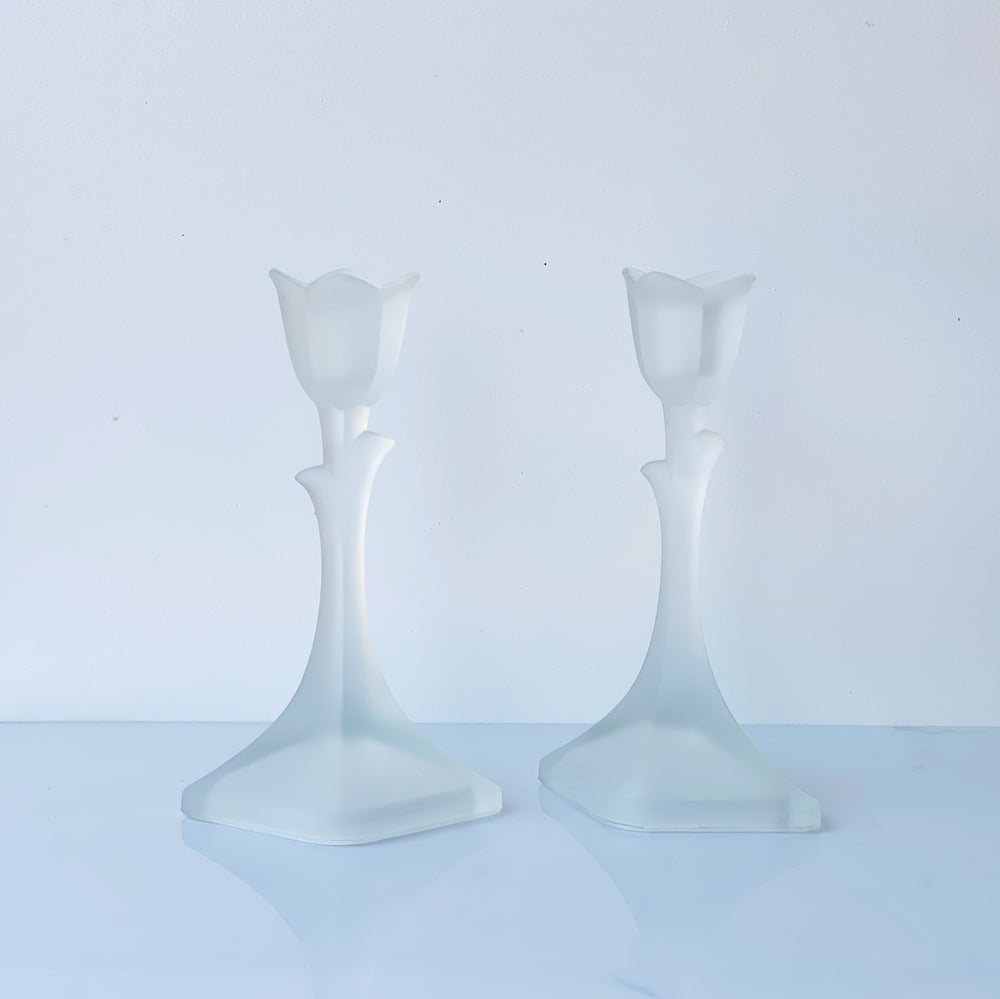 Frosted Crystal Tulip Candle Holders (Set of 2)