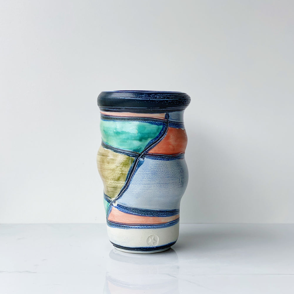 Large Multi-Colored Ceramic Vase