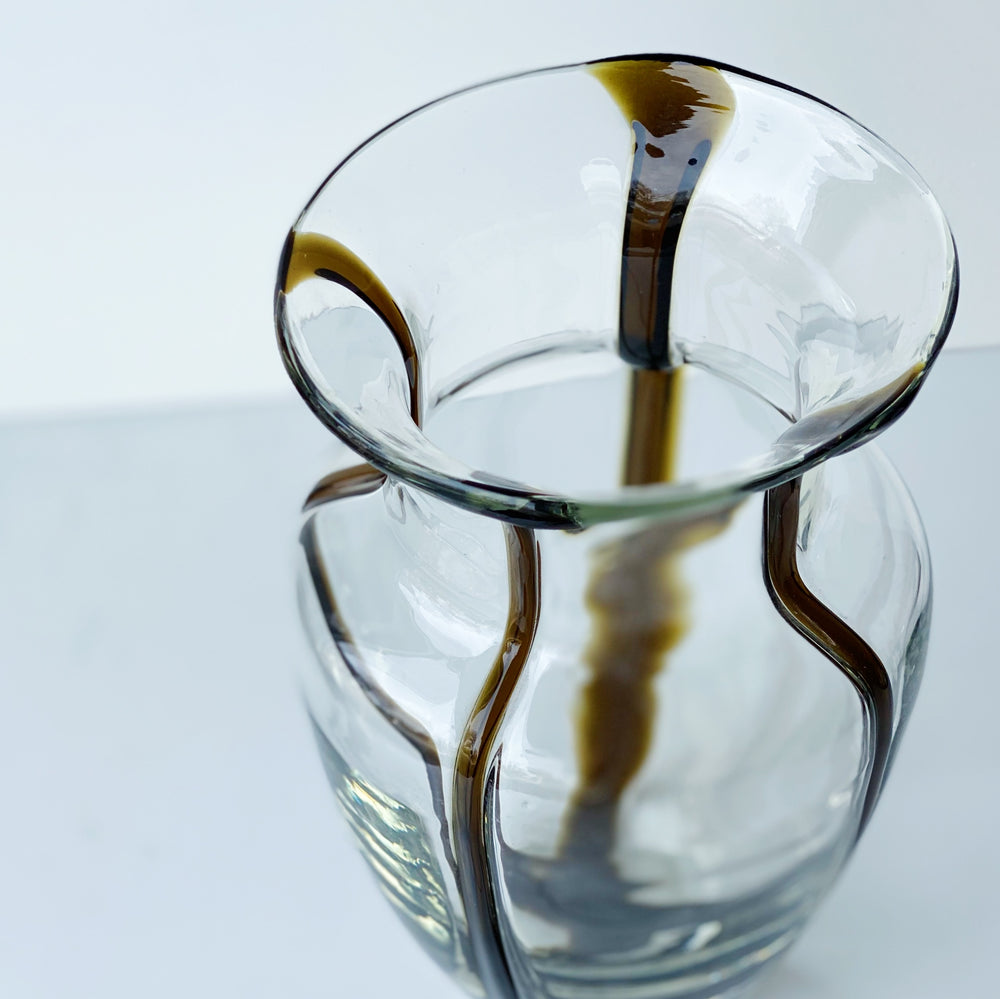 Glass Vase with Ochre Stripes