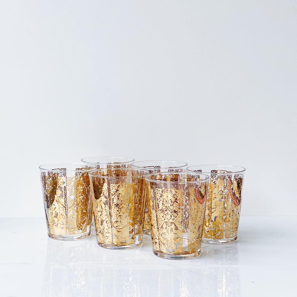 Patterned Gold Leaf Glasses (Set of 6)