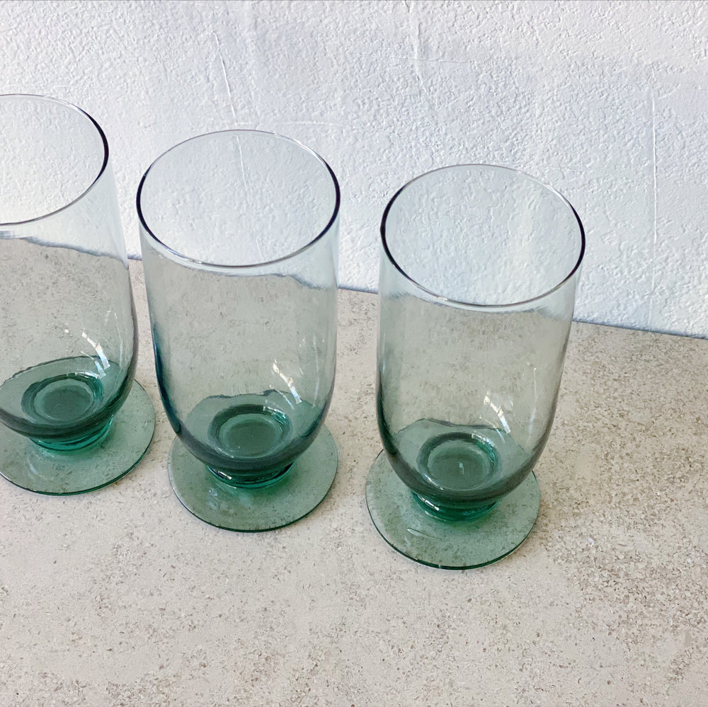 Viridian Footed Drinking Glasses (Set of 6)