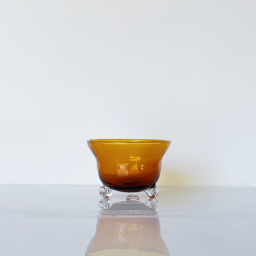 Small Footed Amber Glass Bowl