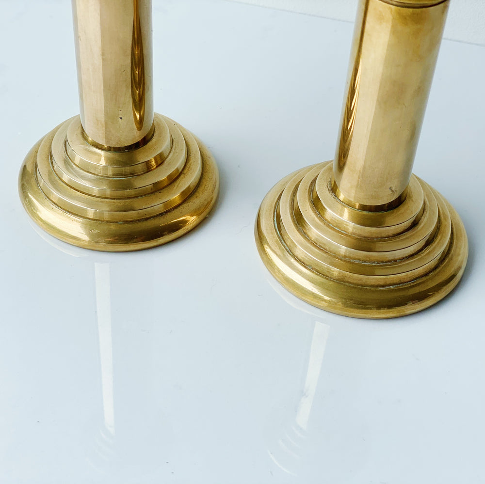 Brass Candle Holders with Stairstep Base (Set of 2)
