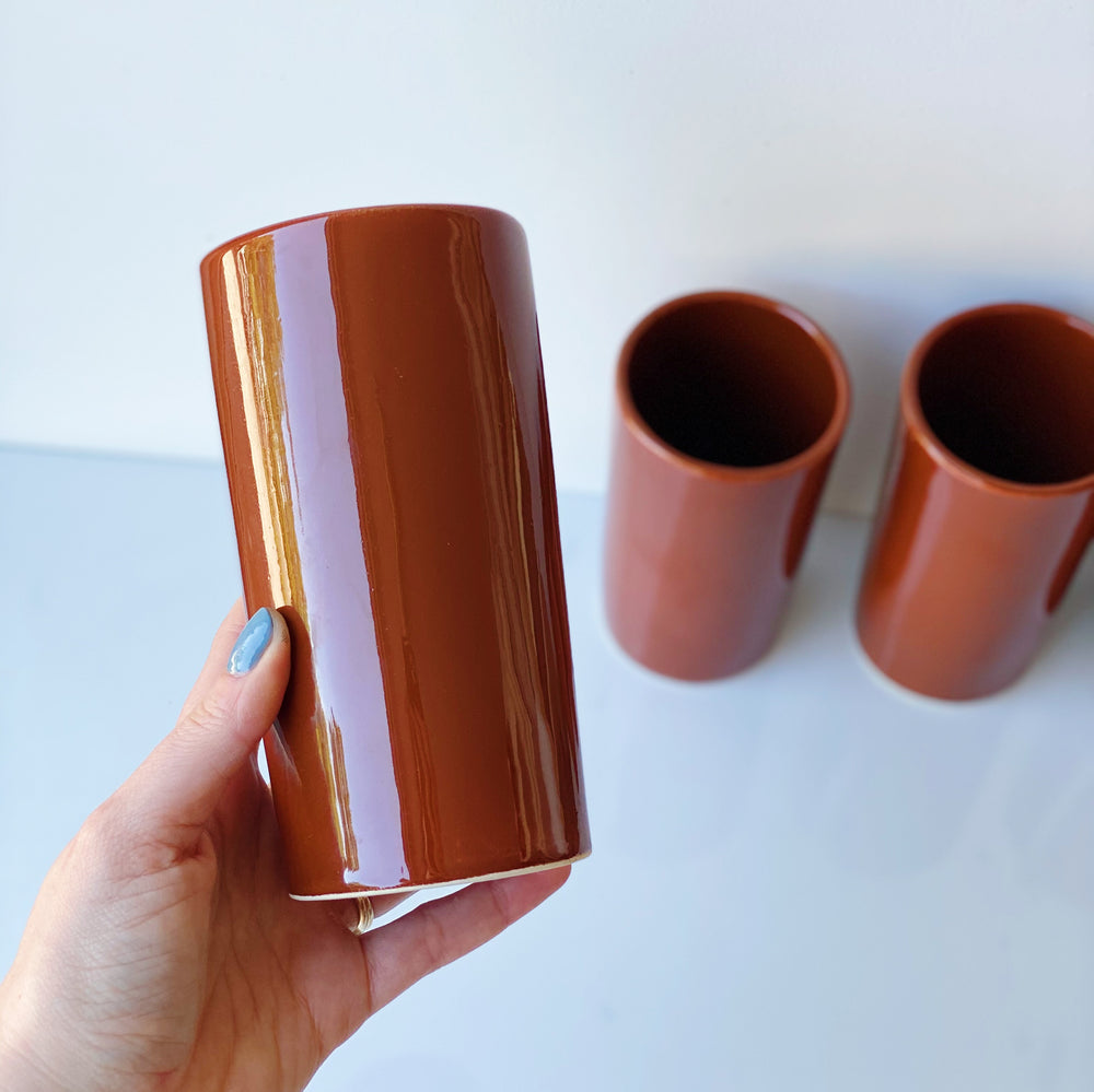 Glazed Ceramic Cups in Terracotta (Set of 4)