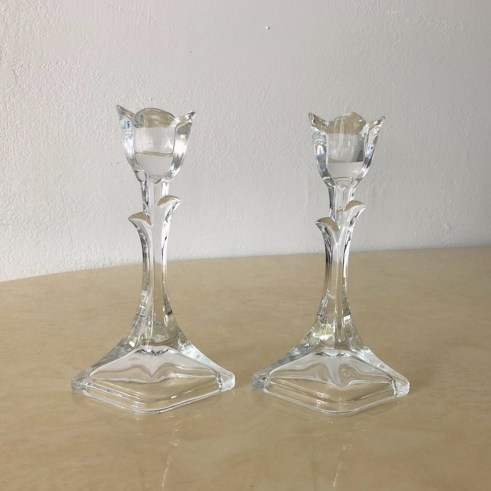Glass Tulip Candle Holders (Set of 2)