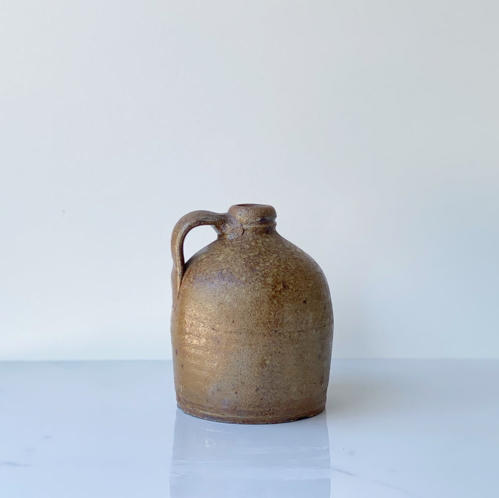 Petite Brown Stoneware Pitcher