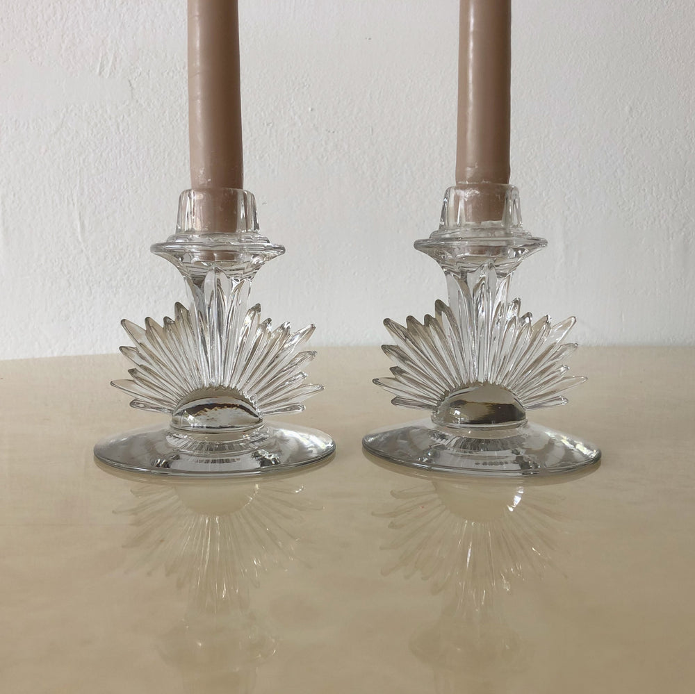 Glass Starburst Candle Holders (Set of 2)
