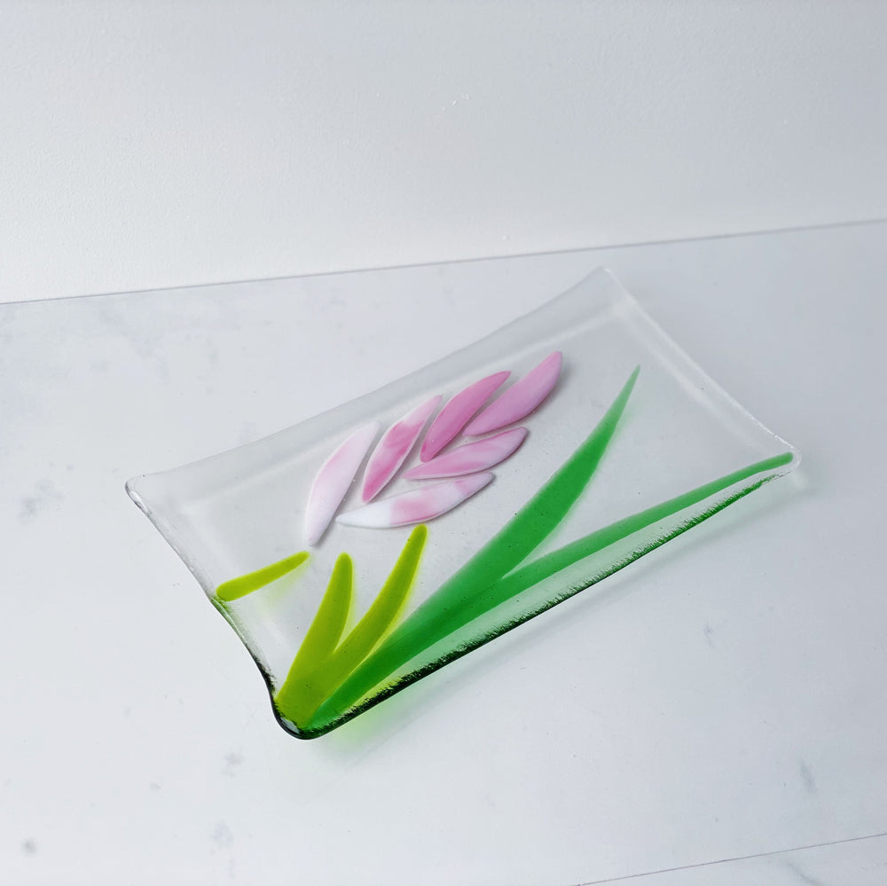 Rectangular Glass Plate with Flower Design