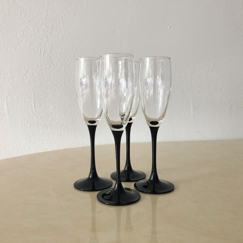 Black-Stemmed Champagne Flutes (Set of 4)