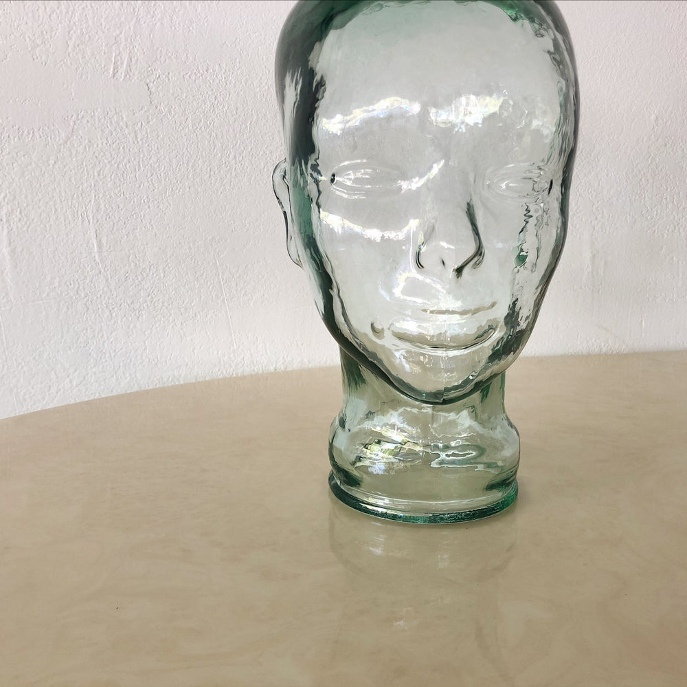 1980s Glass Mannequin Head