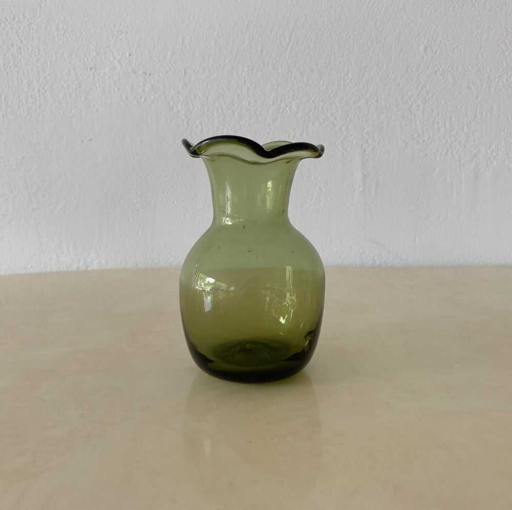 Olive Green Wavy Top Glass Vase
