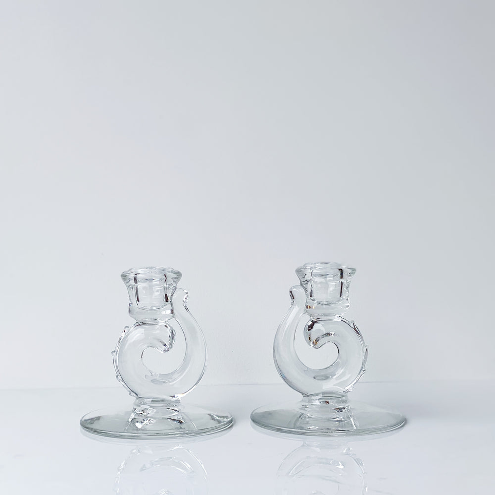 Swirled Glass Candle Holders (Set of 2)