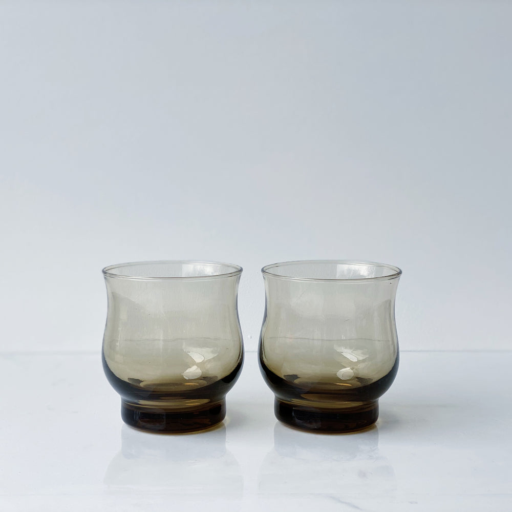 Smokey Brown Glass Tumblers (Set of 4)