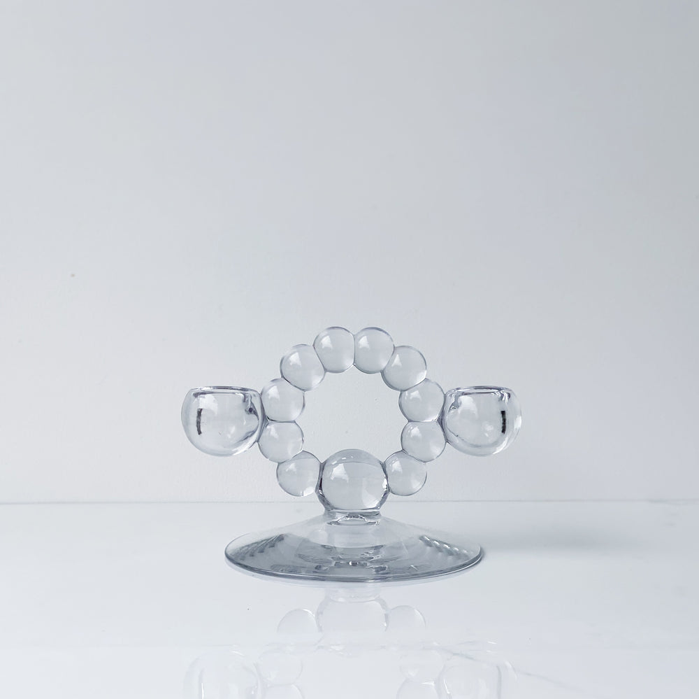 Circular Bubble Glass 2-Candle Holder