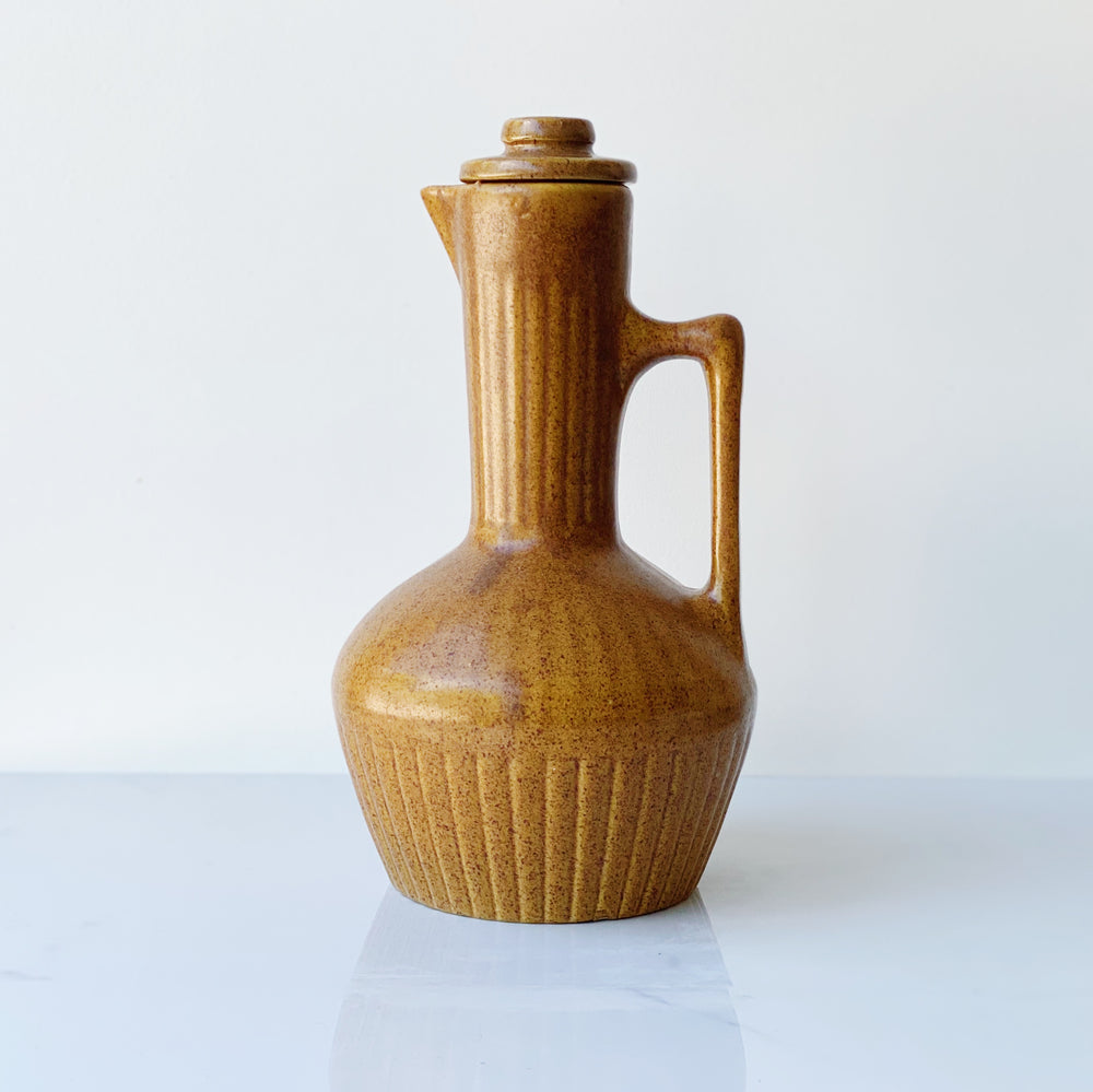 Tall Speckled Ceramic Pitcher with Lid