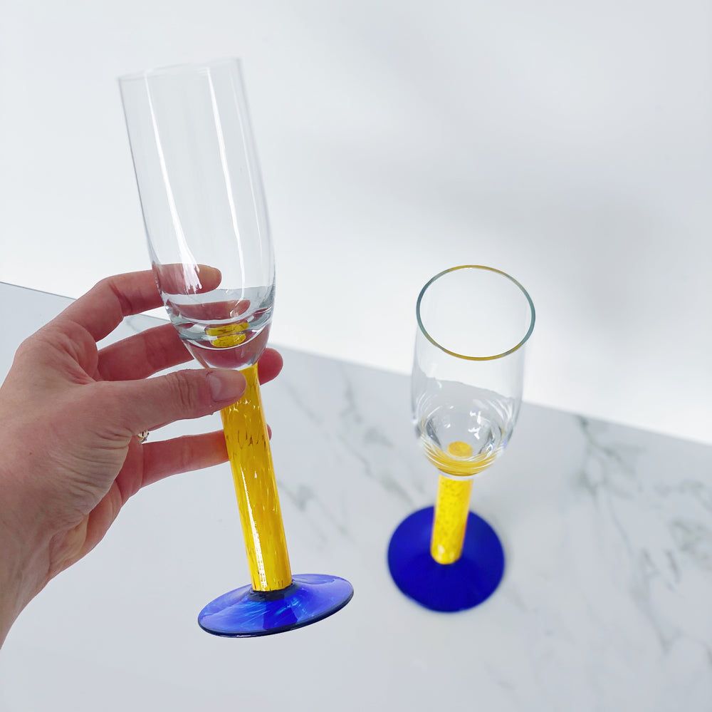Blue + Yellow Stemmed Champagne Flutes (Set of 2)