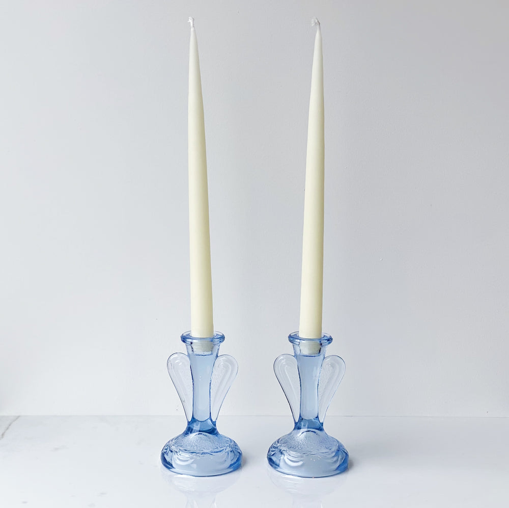 Cornflower Blue Art Deco Glass Candle Holders (Set of 2)