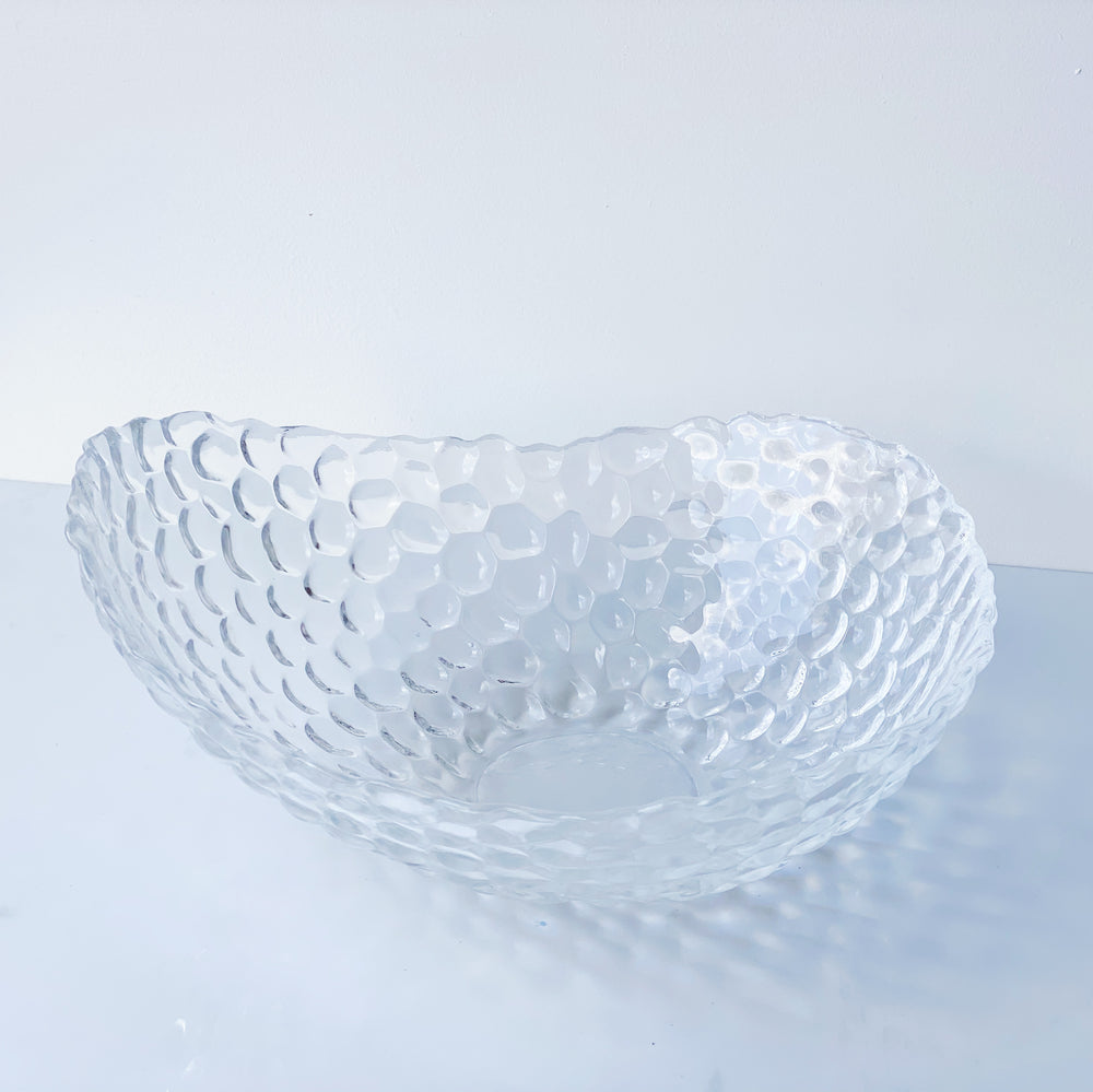 Asymmetrical Bubble Glass Serving Bowl