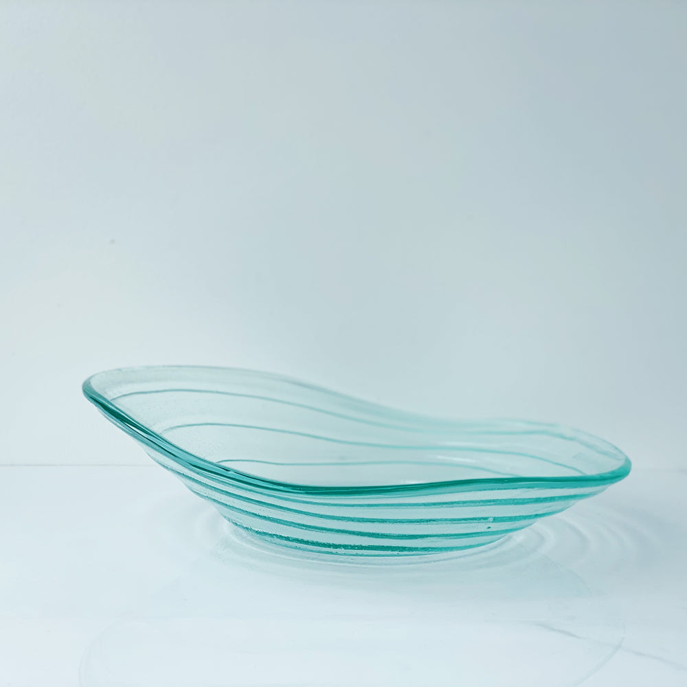 "Wonky Green-Tinted Glass Dish (11"")"