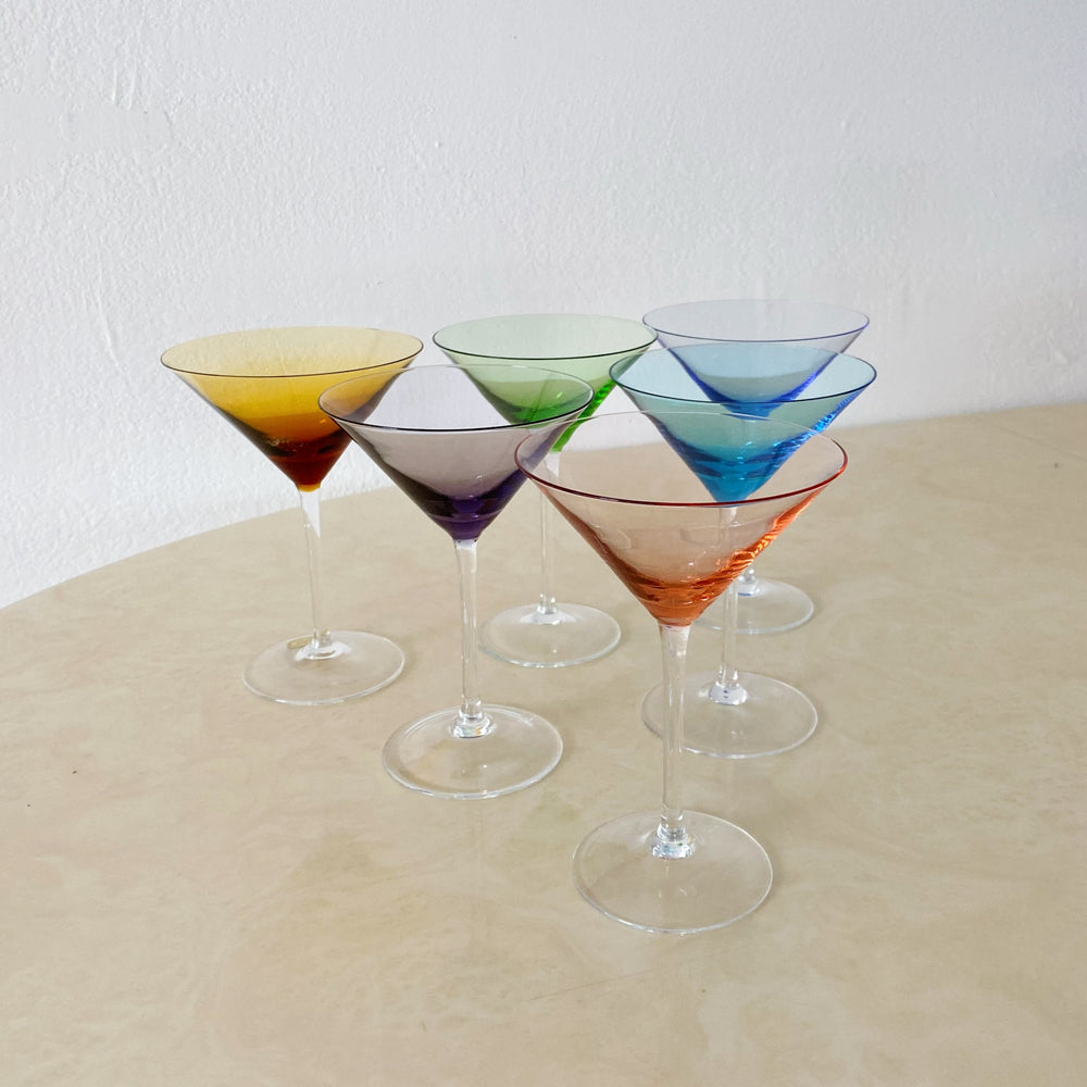Colorful Kaleidoscope Crystal Martini Glasses (Set of 6)