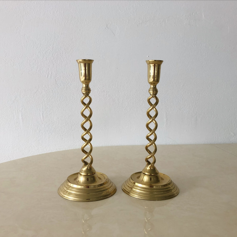 Solid Brass Spiral Candle Holders (Set of 2)