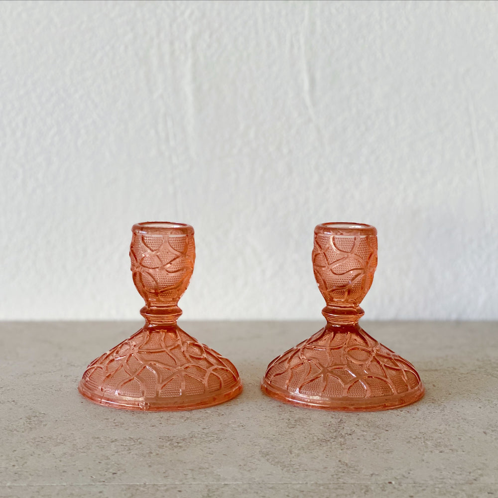 Textured Coral Glass Candle Holders (Set of 2)