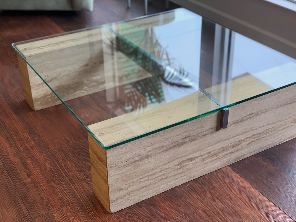 Italian 1980s Coffee Table in Travertine, Crome & Glass by Artedi