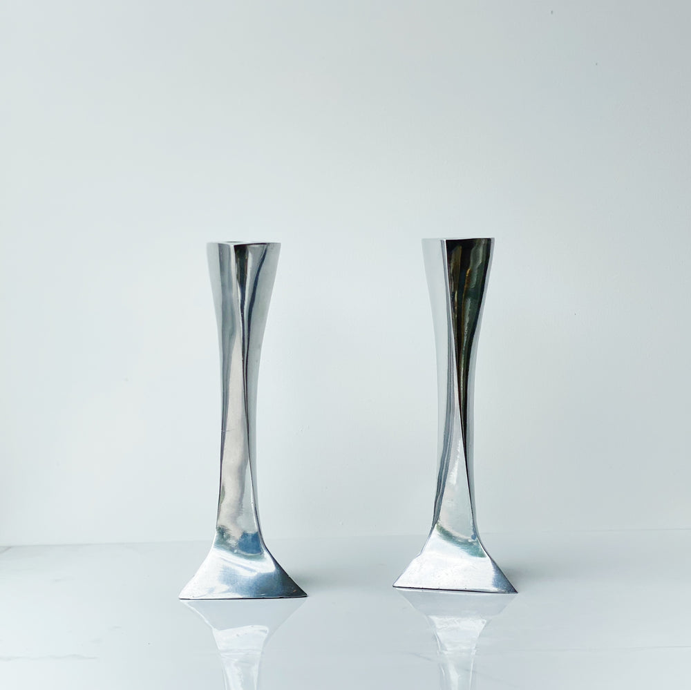 Pewter Triangle Candle Holders (Set of 2)