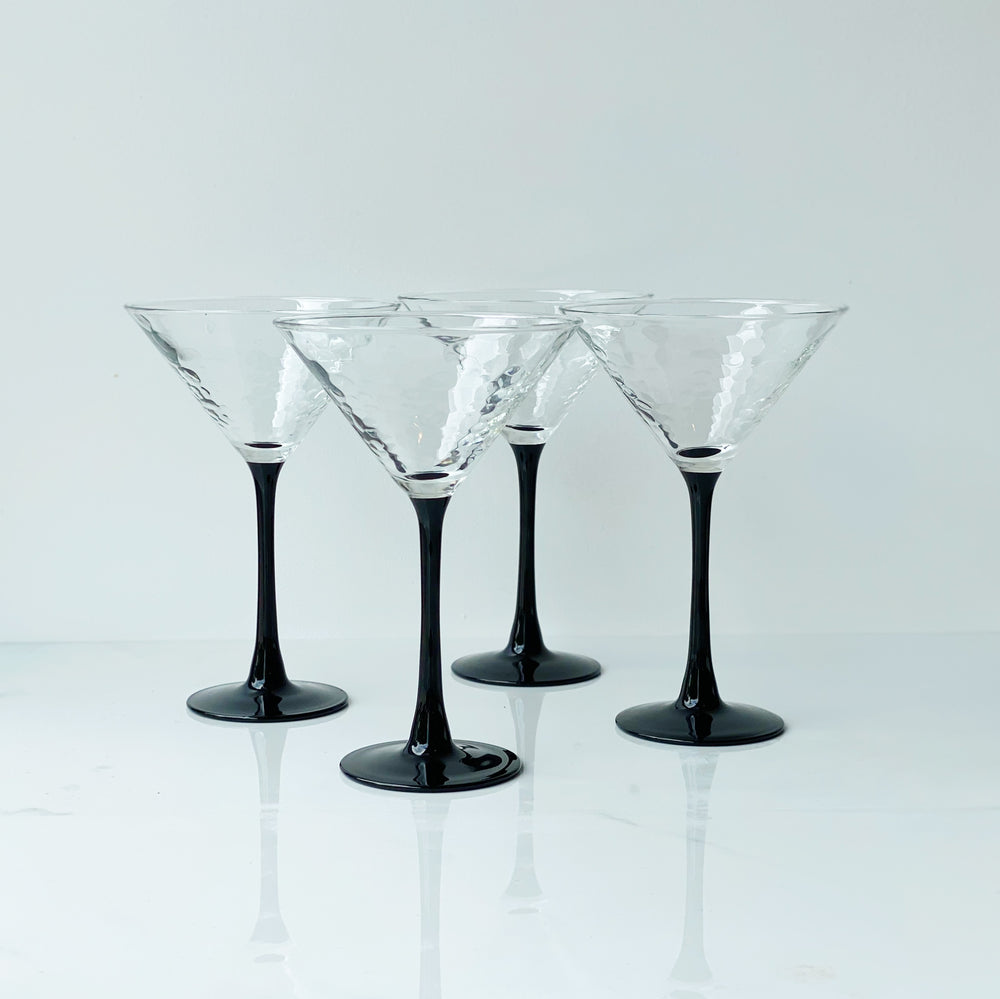 Dimpled Black-Stemmed Martini Glasses (Set of 4)