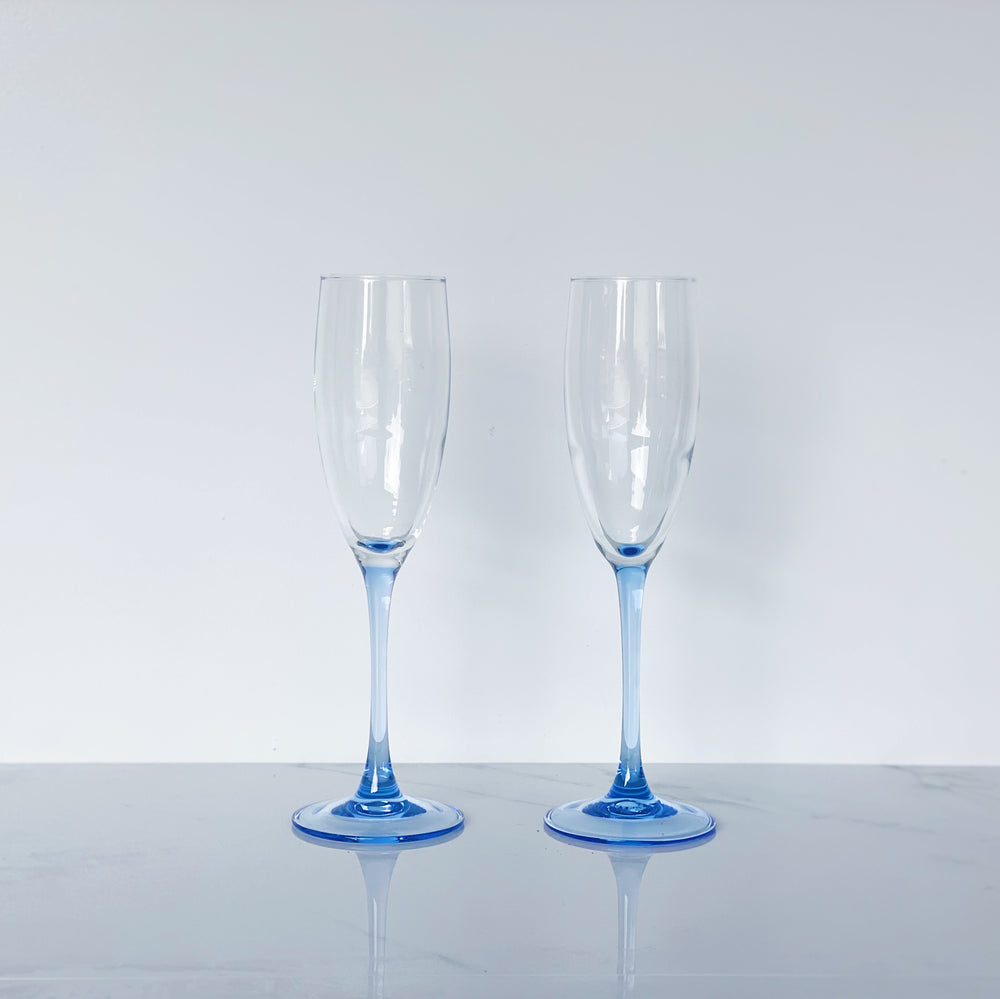 Blue-Stemmed Champagne Flutes (Set of 2)