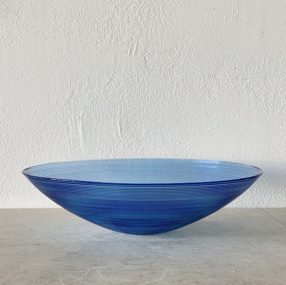 X-Large Blue Ribbed Glass Bowl