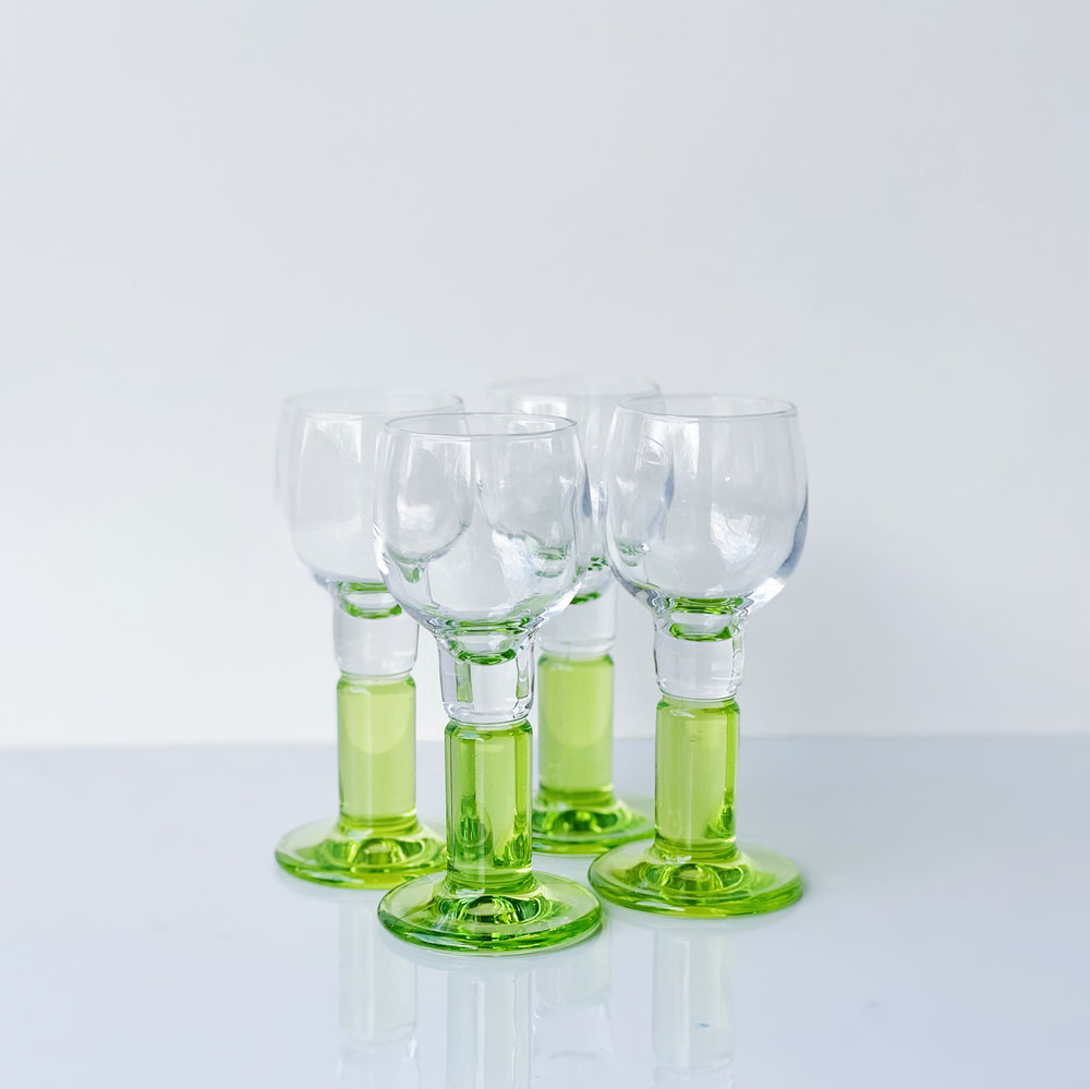 Chartreuse Stemmed Cordial Glasses (Set of 4)